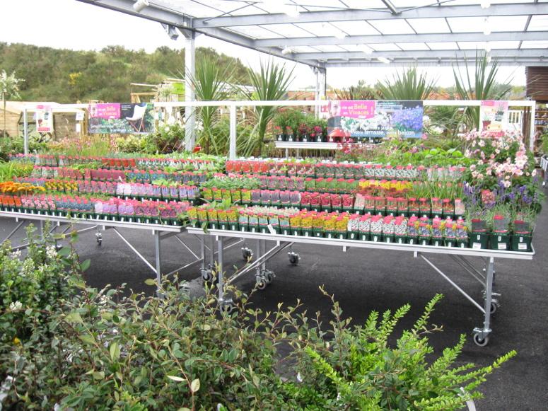 marché aux fleurs - tablar tout aluminium avec portique signalétique