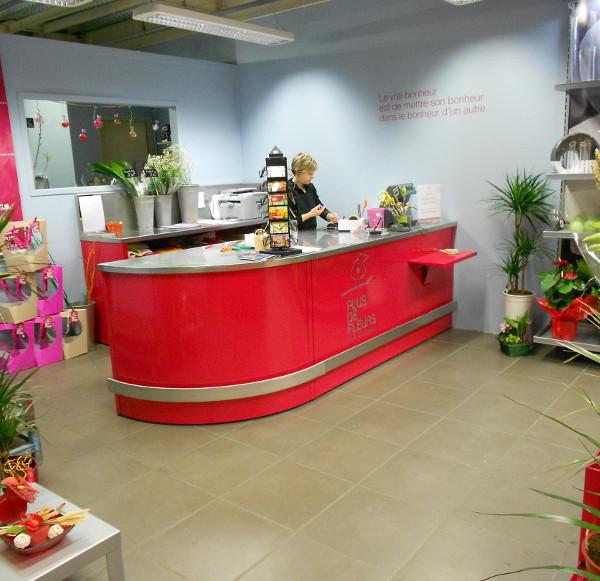 comptoir d'accueil fleuriste