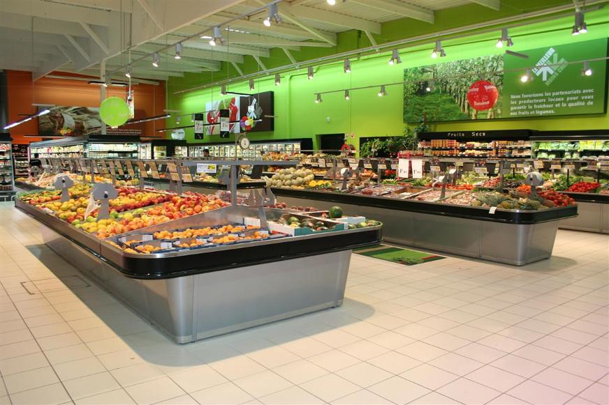 présentoir table centrale fruits et légumes. gamme eva
