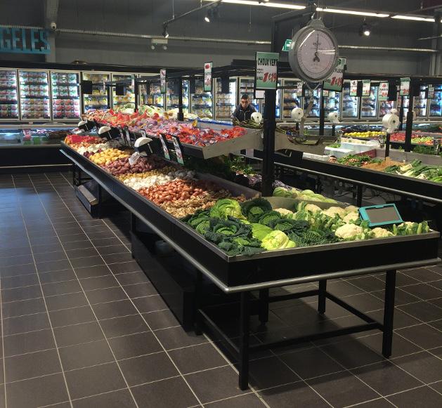 présentoir table centrale fruits et légumes. gamme prima sans bardage