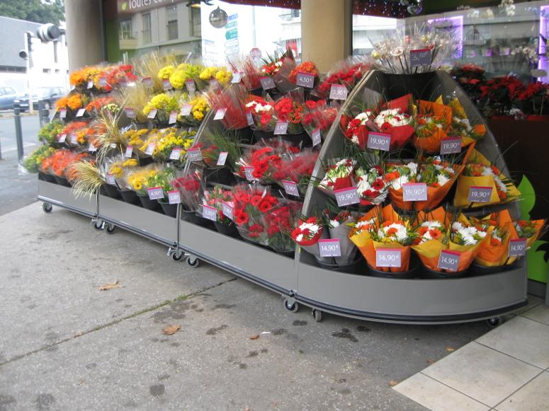 presentoir bouquets lineaire incline