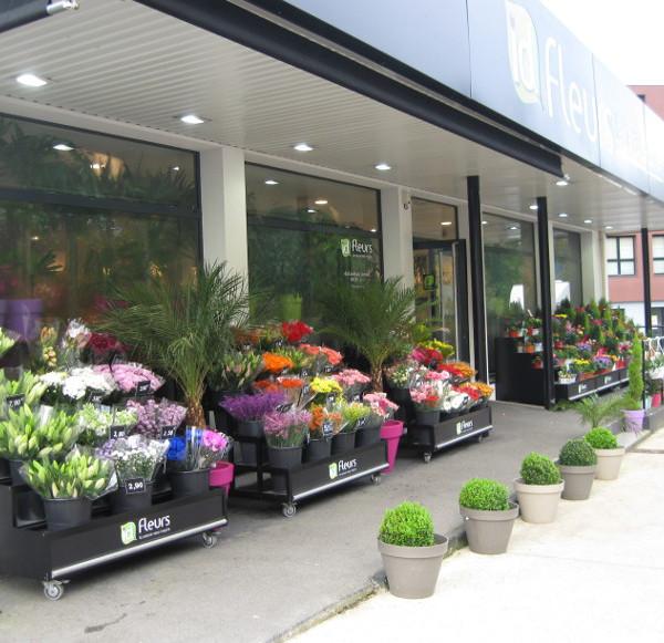 meuble fleuriste : presentoir seaux lineaire 3 niveaux