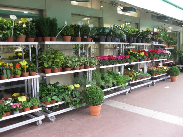 marché aux fleurs - présentoir multifonction tout aluminium