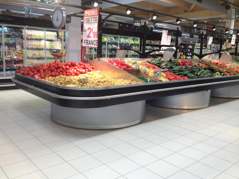 présentoir table centrale fruits et légumes. gamme priplor