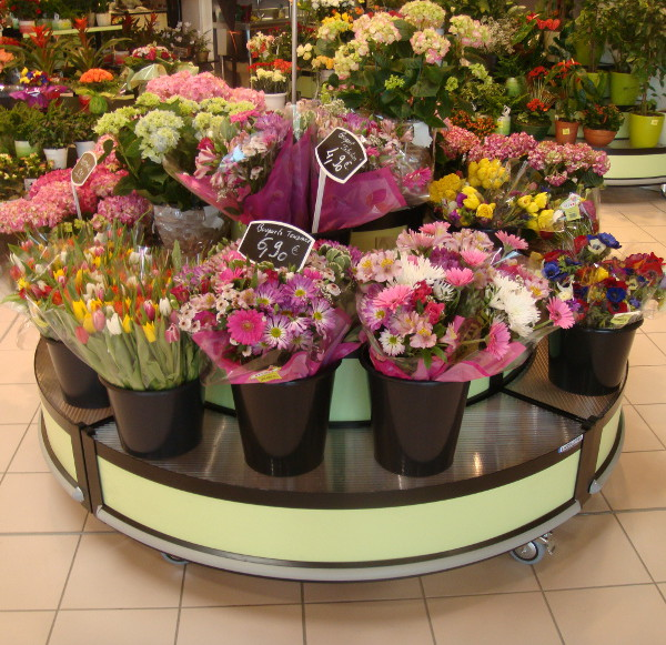 presentoir fleuriste quart de rond incline