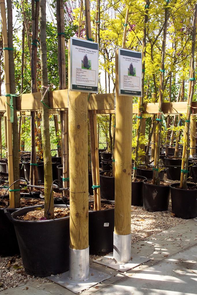 pépinière - supports grands arbres bois et aluminium
