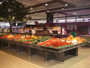 présentoir table centrale fruits et légumes. gamme titanium