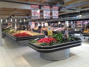 table d'animation pied arrondi promotions fruits et légumes