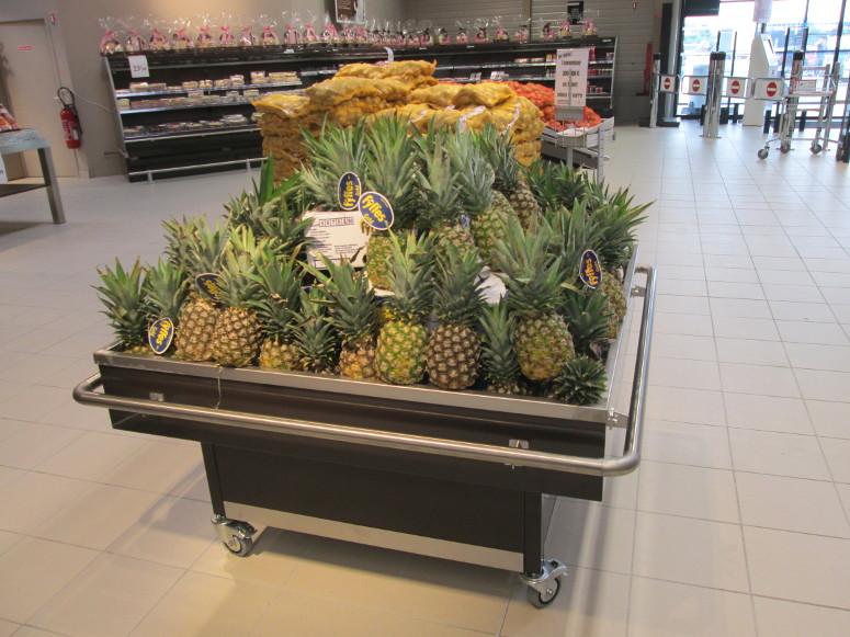 table d'animations fruits&légumes à roues, avec pare-choc tube inox