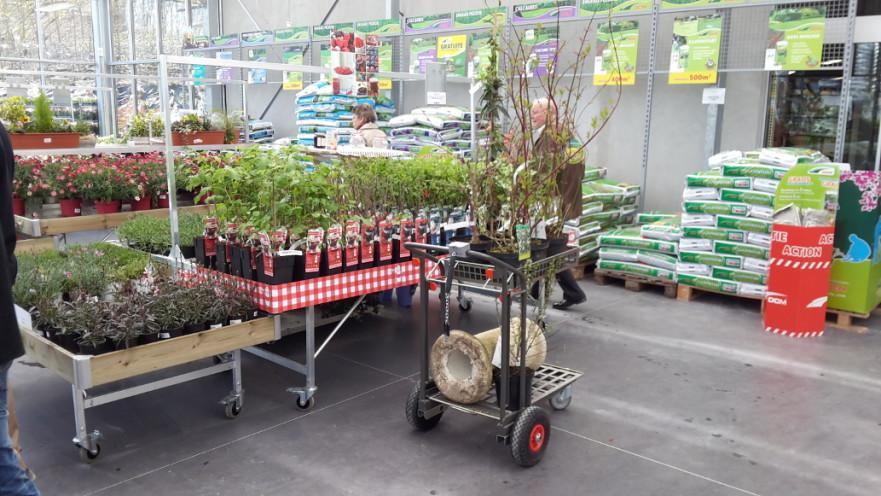 chariot de jardinerie libre service emboitable