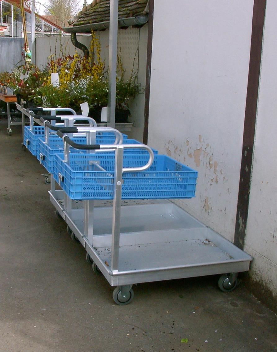 chariot de jardinerie libre service aluminium avec paniers plastiques