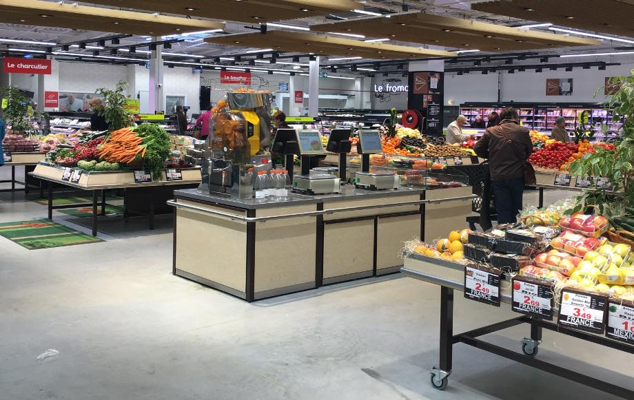 comptoir service et PMR pour fruits et légumes