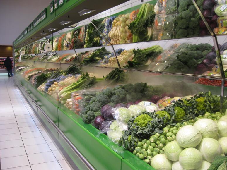 présentoir table murale fruits et légumes. avec fond miroir