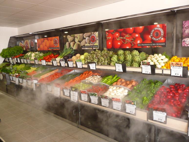 présentoir table murale fruits et légumes. avec 2e étage et nébulisation
