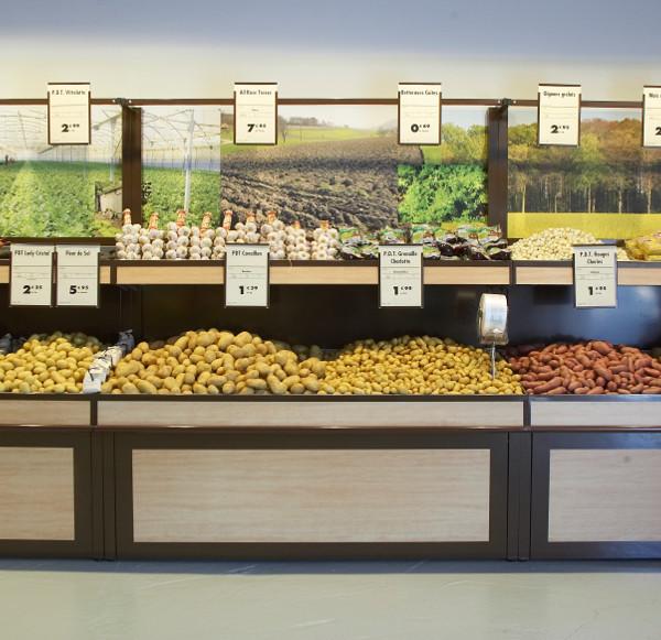 présentoir meuble mural PDT - pommes de terres. placage bois et fond visuel