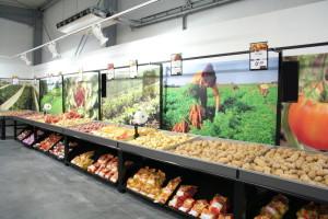 présentoir meuble mural PDT - pommes de terres avec font visuel