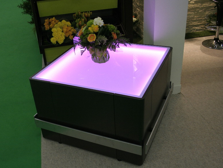 table fleuriste lumineuse retroeclairee