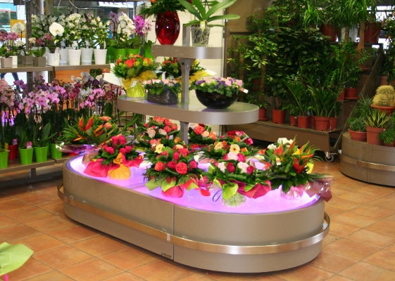 Fleuristerie - tables lumineuses