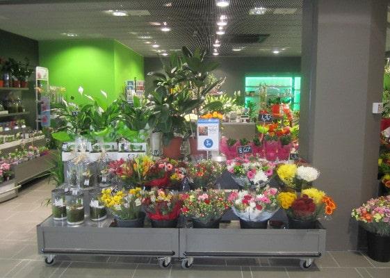 Fleuristerie - présentoir linéaire
