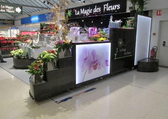 Fleuristerie - présentoir rétroéclairé