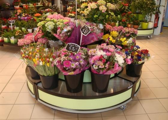 Fleuristerie - présentoir quart de rond